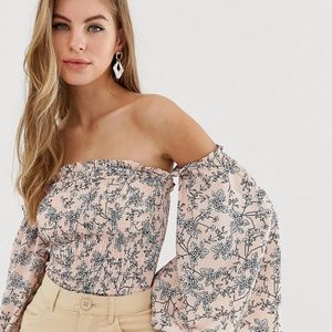 Asos Parisian floral shirred top